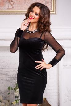Вечернее бархатное платье с сетчатым рукавом Angela Ricci со скидкой