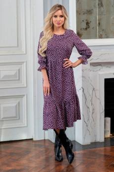 Легкое платье ягодного цвета Look Russian со скидкой